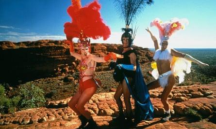Hugo Weaving, Terenece Stamp and Guy Pearce in The Adventures of Priscilla, Queen of the Desert.