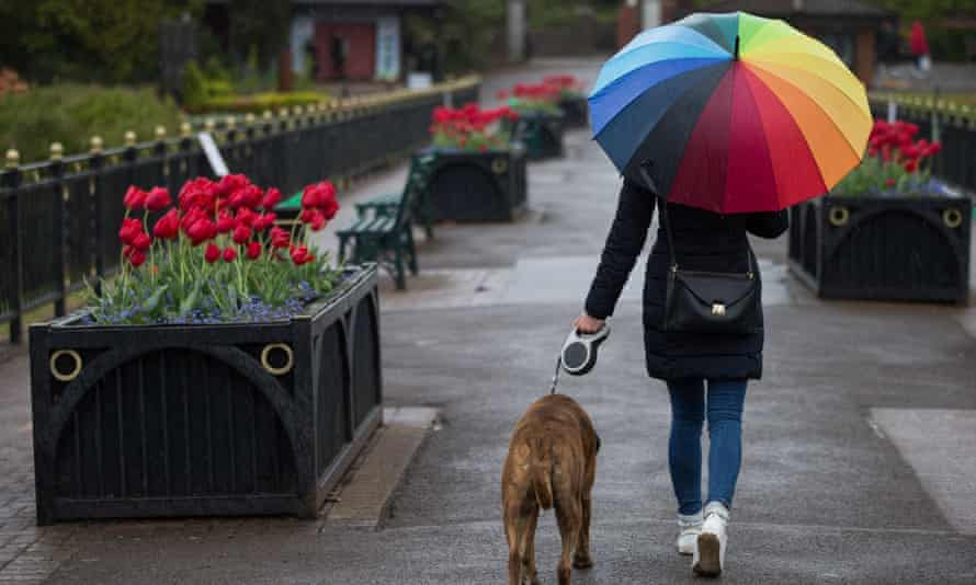 A woman walks her dog in the rain in Cardiff, south Wales.