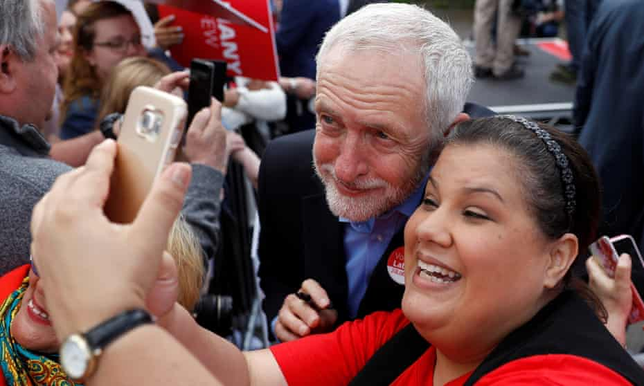 Jeremy Corbyn at a campaign event in Reading on 31 May.