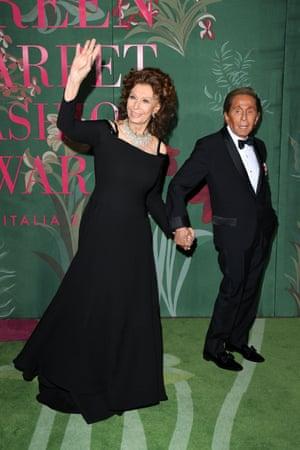 Actor Sophia Loren wore vintage Valentino and natural Damiani diamonds. She also presented the designer Valentino Garavani (right) with The GCFA legacy award.
