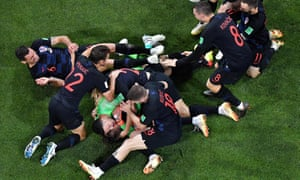 Croatia's players celebrate at the end of the penalty shootout.