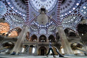 Grozny, Chechnya A man cleans inside the Akhmad Kadyrov Mosque