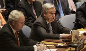 António Guterres, right, Secretary-General of the United Nations, speaks during a Security Council meeting, Friday, April 13, 2018, at United Nations headquarters. (AP Photo/Julie Jacobson)