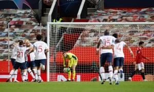 Neymar celebrates as De Gae picks the ball out of the net