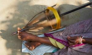 A silk weaver at work near Jangipur in Murshidabad, West Bengal