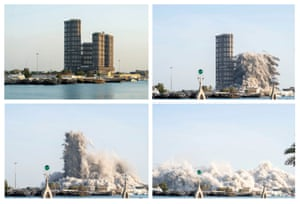 Abu Dhabi, United Arab Emirates Unfinished towers are demolished in controlled explosions to free space for the renovation of Mina Zayed area