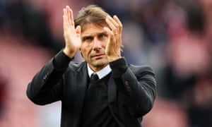 Antonio Conte applauds the travelling supporters after Chelsea's 4-0 Premier League win at Stoke on Saturday.