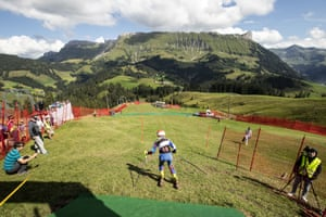 Martina Bila of the Czech Republic starts down the run