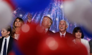 Donald and Melania Trump celebrate at the Republican national convention with Mike and Karen Pence in Cleveland, Ohio, on 21 July 2016.
