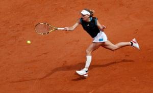 Caroline Wozniacki in action.