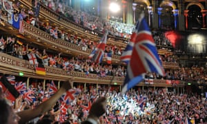 The audience wave their flags and sing along during the climax of the Last Night Of The Proms at Royal Albert Hall, September 2012.