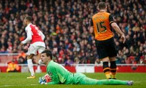 Hull City keeper Eldin Jakupovic claims the ball.