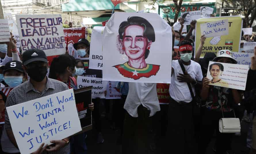 Protesters outside the Indian embassy in Yangon on Friday.