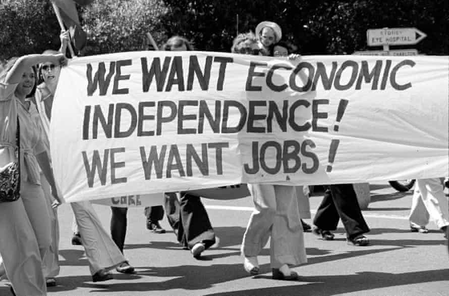 """A banner reading """"we want economic independence, we want jobs!"""" at a rally in sydney"""