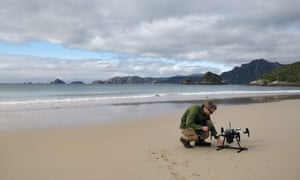 Dr Andrew Digby with the Wildlife Drones drone on Whenua Hou / Codfish Island, New Zealand