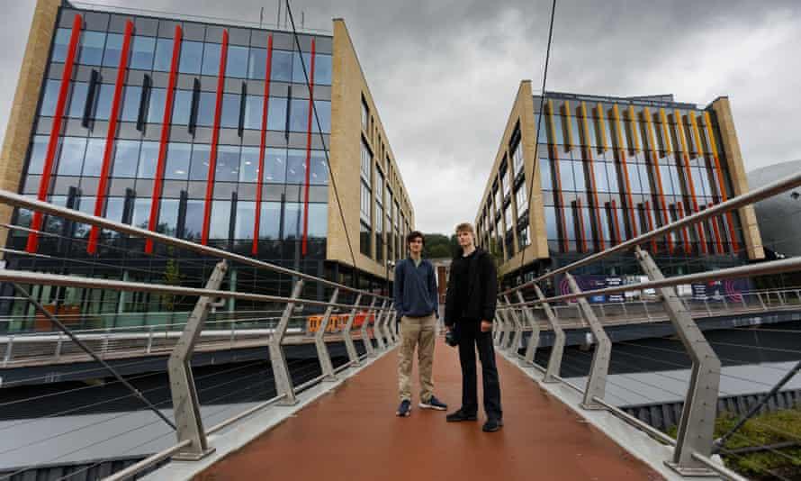 Leo Carey-Read, left, with Alfred Williamson on the new footbridge in Pontypridd.