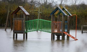 A flooded playground in Fishlake