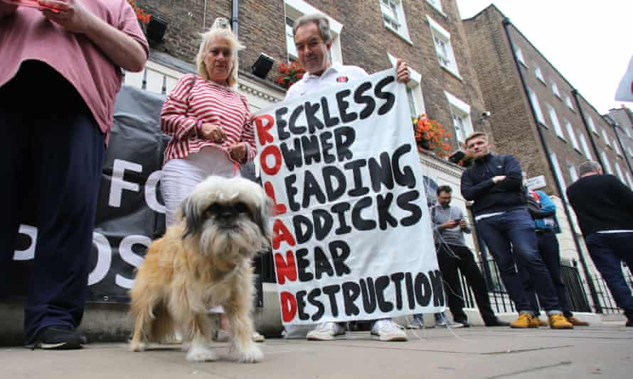 Charlton fans protesting against their owner.