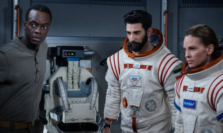 Ato Essandoh, Ray Panthaki and Hilary Swank in the 'ruinously high-budget' Away.