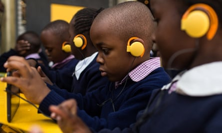 Students use BRCK's Kio Kit in a simulated school classroom in Nairobi