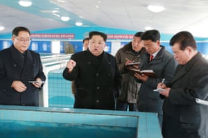 Kim at the newly built Sunchon Catfish Farm in South Pyongan province.