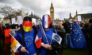 EU citizens demonstrating outside the Houses of Parliament in London