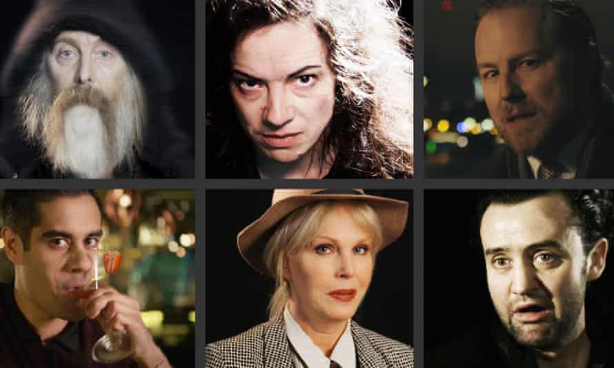 The stars of the Guardian's second set of Shakespeare Solos. Clockwise from top left: David Threlfall, Camille O'Sullivan, Samuel West, Daniel Mays, Joanna Lumley and Sacha Dhawan.