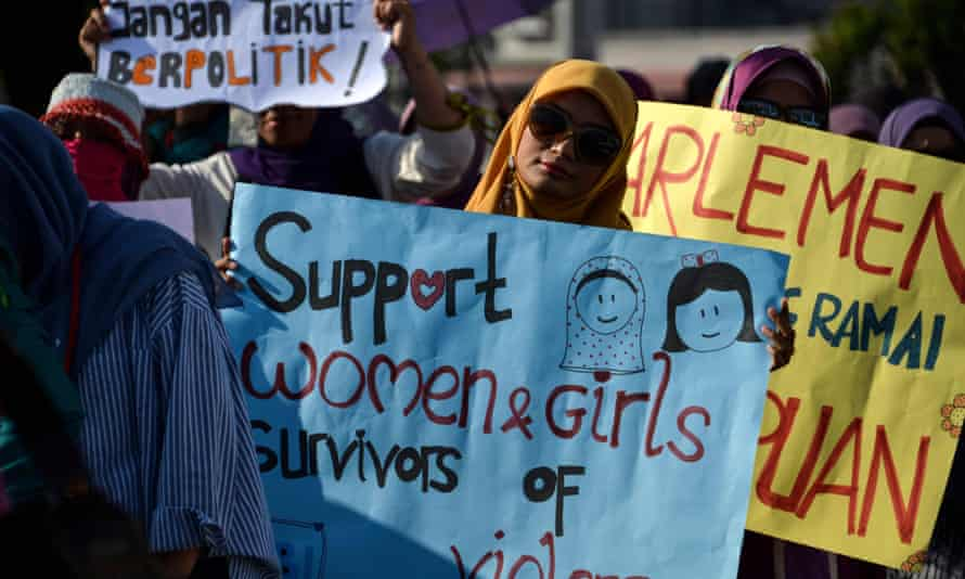 Activists at a event to mark International Women's Day in Banda Aceh in Indonesia in March 2019.