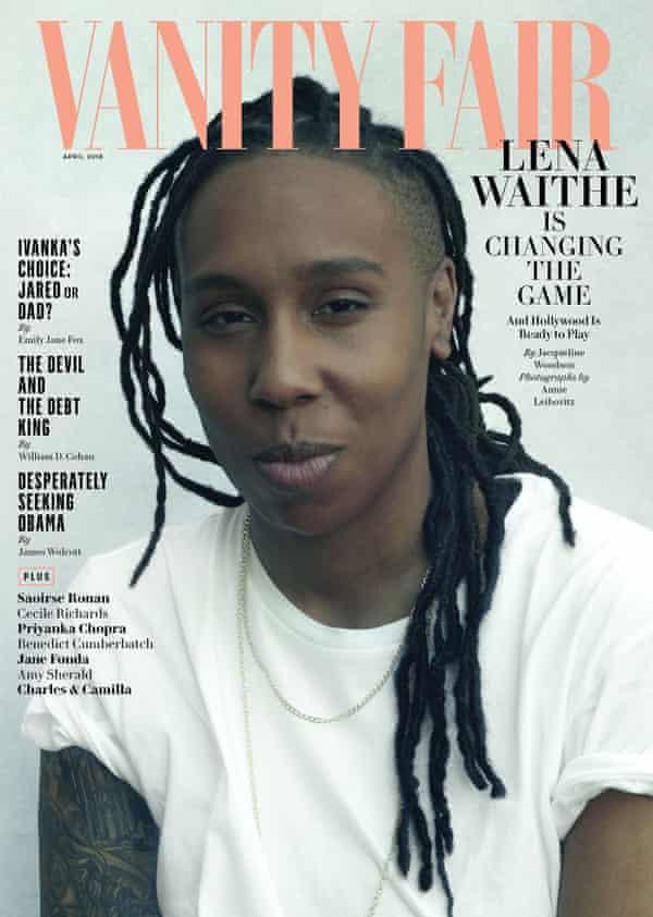 Lena Waithe on the April 2018 cover of Vanity Fair, photographed by Annie Leibovitz.