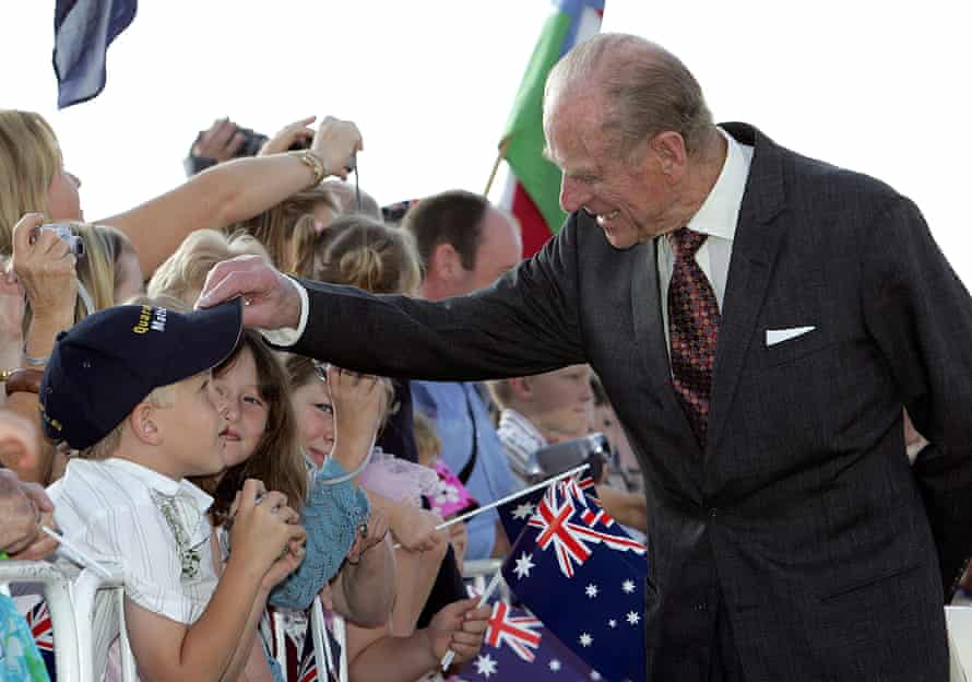 The Duke of Edinburgh greets a young wellwisher in Canberra at the start of a five-day visit to Australia in 2006.