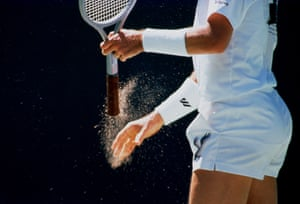 Ivan Lendl of Czechoslovakia looks to get a grip at the 1990 tournament.