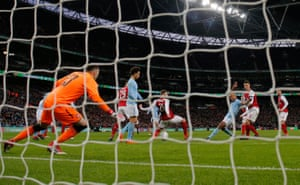 25 February 2018: Kompany scores City's second goal in a 3-0 defeat of Arsenal to win the League Cup final.