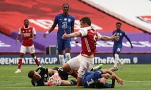 Chelsea's Pedro lands on his shoulder.