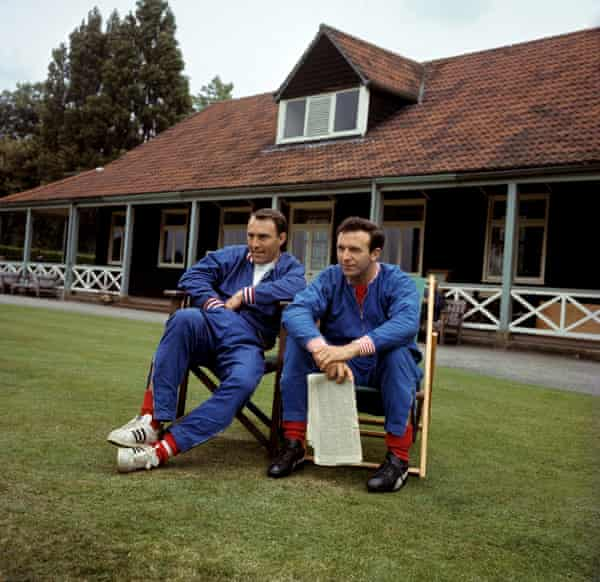 Jimmy Greaves and Jimmy Armfield take it easy during an England training session at Roehampton in July 1966.