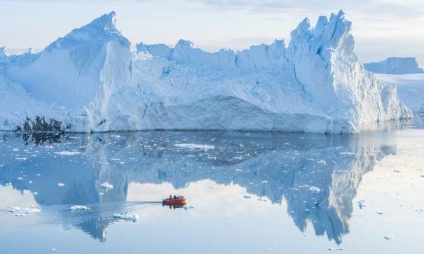 Icebergs near Ilulissat, Greenland. The climate crisis is having a profound impact on glaciers. Photograph: Ulrik Pedersen/NurPhoto/REX/Shutterstock