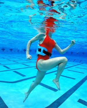 Aquajogging with a flotation belt.