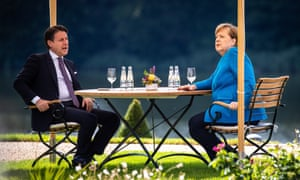 Angela Merkel and Giuseppe Conte at talks on Monday.