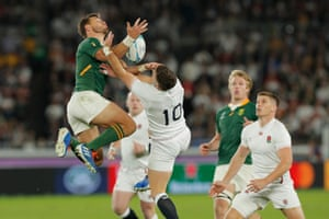 The livewire Pollard beats George Ford to the ball from his own kick. The England No10 was subsituted early in the second half.