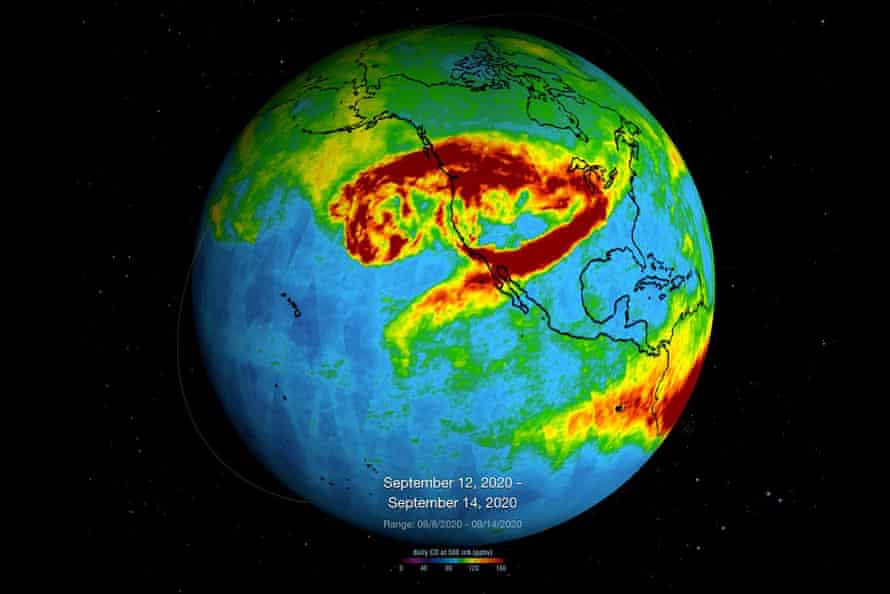 This image and description from Nasa's Atmospheric Infrared Sounder, which is aboard the Aqua satellite, shows captured carbon monoxide plumes coming from California wildfires over a three-day period in September 2020.