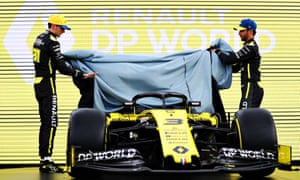 Daniel Ricciardo (right) and Esteban Ocon launch the livery of their new Renault Sport RS20 before the aborted Australian Grand Prix in March