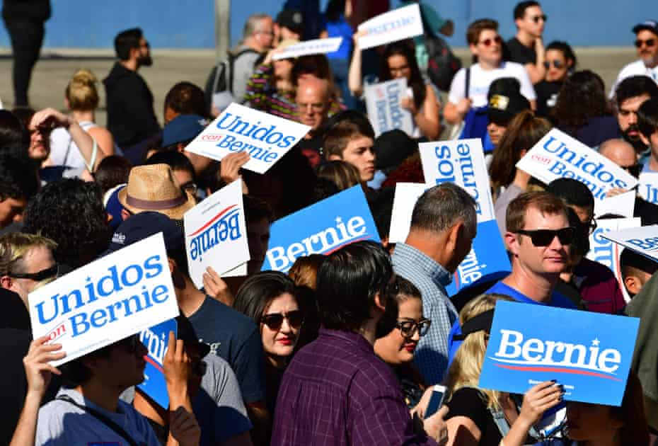 Bernie Sanders supporters at a campaign rally in Los Angeles, California on Saturday.