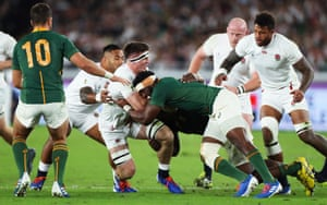 South Africa's captain Siya Kolisi tackles England's Tom Curry during the 2019 Rugby World Cup final won by the Springboks.