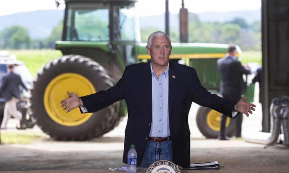 Vice-President Mike Pence visits the Morning Star Dairy in Onalaska, Wisconsin, last month.