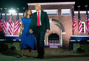 United States Vice President Mike Pence and his wife Karen Pence arrive for the third night of the Republican National Convention, at Ft. McHenry in Baltimore, Maryland.