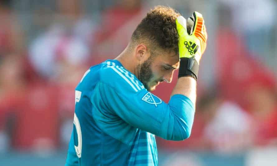 Toronto FC keeper Alexander Bono contemplates another goal conceded
