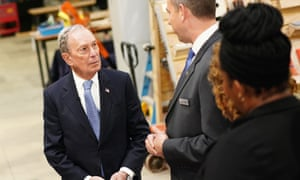 Mike Bloomberg speaks to employees of a veteran-owned business in Alexandria, Virginia, on 7 February.
