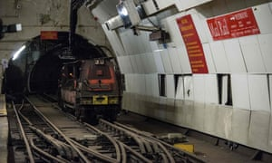 A driverless train on the tracks of the Mail Rail