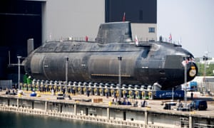 HMS Astute is launched at the BAE Systems shipyard in Barrow-in-Furness