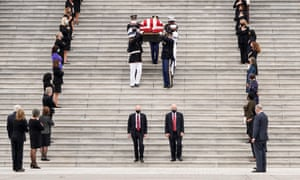 The casket of Ruth Bader Ginsburg is carried in Washington DC, on 25 September.