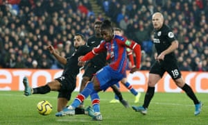 Wilfried Zaha smashes in Crystal Palace's equaliser off his left foot to peg back Brighton.